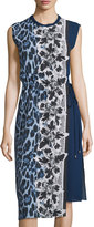 Alberto Makali Sleeveless Printed Side-Tie Dress, Blue