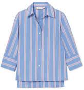 Marni Striped Cotton-poplin Shirt - Blue