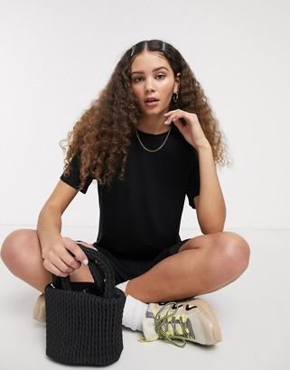 Monki Isabella jersey midi t-shirt dress with side split in black