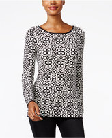 Charter Club Geo-Print Boat-Neck Sweater, Only at Macy's