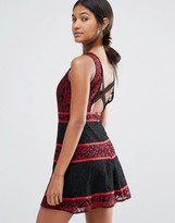 Boohoo Color Block Lace Open Back Dress