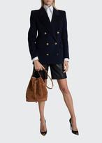 Saint Laurent Flannel Exaggerated-Shoulder Oversize Blazer