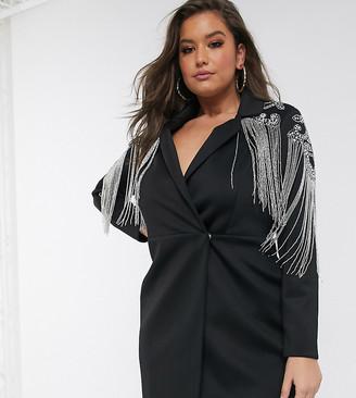Asos DESIGN Curve embellished tux mini dress