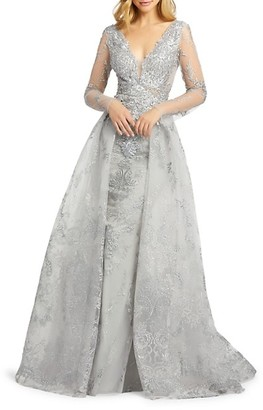 Beaded Embroidery Long-Sleeve Gown