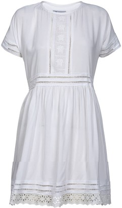 Naftul Vintage Inspired Midi White Eyelet Trim Summer Dress