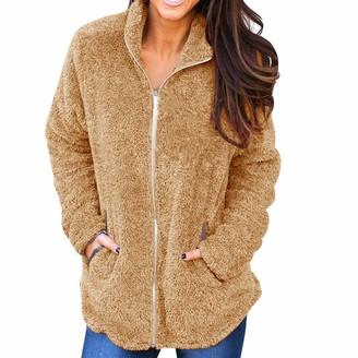 HOOUDO Women Coat Winter Warm Fashion Casual Fluffy Plush Pure Color Cardigan Jumper Overcoat Jacket Outwear(Medium