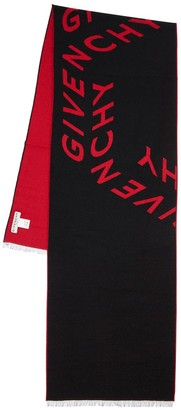 Givenchy Double Logo Intarsia Wool & Silk Scarf