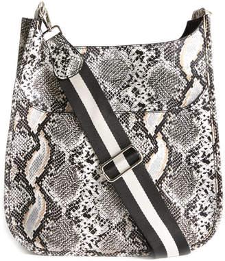 Ah-dorned Stripe Strap Faux Python Messenger Bag Black Multi 1 Size