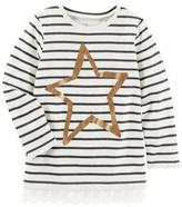 Osh Kosh Girl's Striped Long Sleeve Top with Lace Trim
