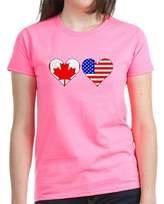 CafePress - Canadian American Hearts T-Shirt - Womens Cotton T-Shirt