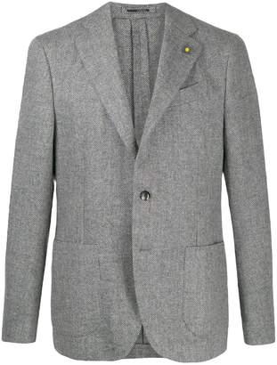 herringbone patch pocket blazer
