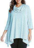 Karen Kane Plus Cowl Neck 3/4 Sleeve Handkerchief Hem Solid Top