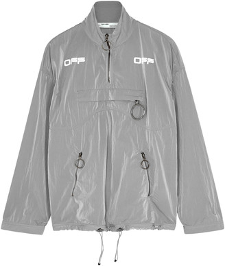 Off-White Grey printed reflective shell jacket