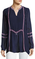 Tolani Lani Long-Sleeve Tunic w/ Contrast Embroidery