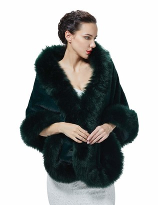 BEAUTELICATE Faux Fur Wrap Shawl Womens Long Cape Bridal Shrug for Winter Wedding Evening (5 Colors) Navy Blue