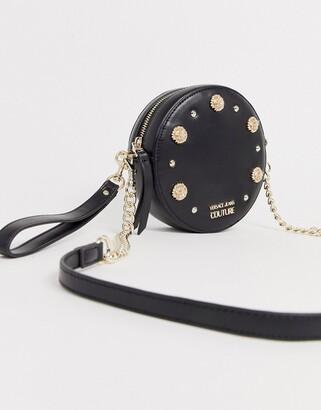 Versace studded cross body bag-Black
