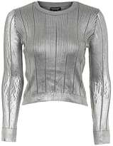Foil pointelle crop knitted top
