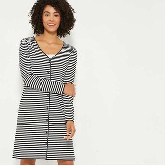 Joe Fresh Women's Stripe Long Cardi, Black (Size L)