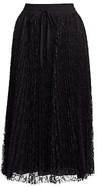 RED Valentino Women's Pleated Lace Tulle Skirt
