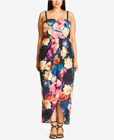 City Chic Trendy Plus Size Crossover Maxi Dress
