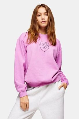 Topshop Womens Pink Lion Line Sweatshirt - Pink