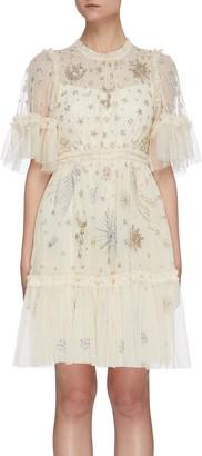 Needle & Thread 'Ether' galaxy stars bead embellished mini dress