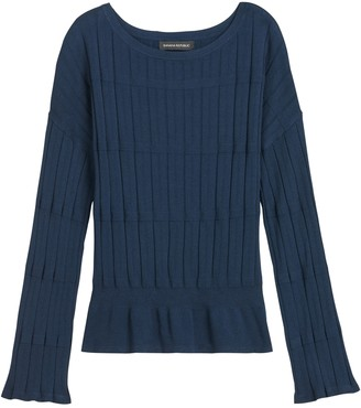 Banana Republic Bell-Sleeve Cropped Sweater Top
