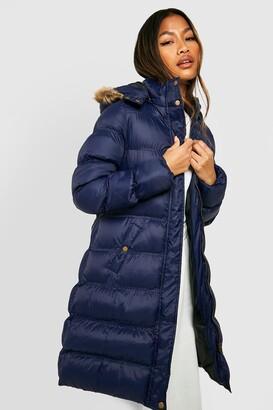 boohoo Longline Padded Faux Fur Hooded Jacket