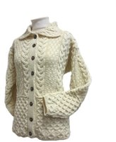 Carraigdonn Carraig Donn Ladies Irish Honeycomb Aran Wool Cardigan