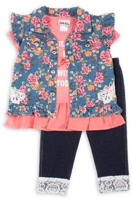 Little Lass Little Girl's 3-Piece Totally In Love With Today Vest, Top and Leggings Set