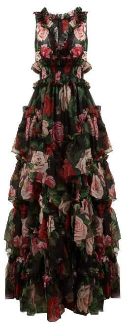 Dolce & Gabbana Floral Print Silk Organza Gown - Womens - Black Multi