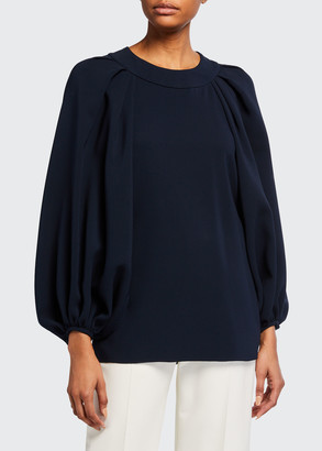 Oscar de la Renta Stretch Silk Balloon-Sleeve Blouse