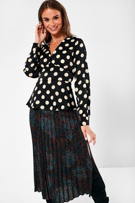 iClothing Rhiannon Polka Dot Blouse in Black