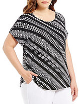 Allison Daley Plus Wide Scoop Neck Tribe Stripe Print Knit Top