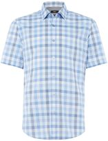 Hugo Boss Luka 5 Short-sleeve Gingham Checked Marl Shirt