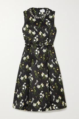 Erdem Farrah Belted Embellished Floral-print Twill Midi Dress - Black