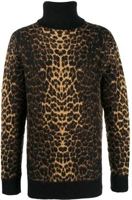 Saint Laurent Leopard-Print Roll-Neck Jumper