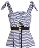 Self-Portrait Tie-shoulder striped cotton top