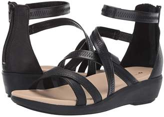 Hush Puppies Lyricale Back Zip (Black Leather) Women's Sandals