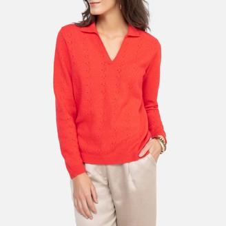 Anne Weyburn Fine Knit Pointelle Jumper with Shirt-Collar