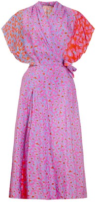 Tomcsanyi Lovran Multi Slits Wrap Dress Blossom Cheetah