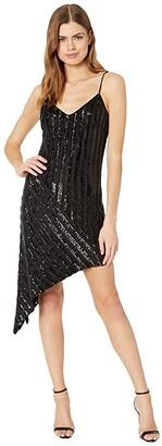 Badgley Mischka Spaghetti Strap Asymmetrical Geo Sequin Mini (Black) Women's Dress