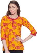 KOKOM Womens Tunic Top 3/4 Sleeve Short Kurta Kurti Indian Ethnic Blouse Gift For Her