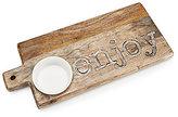 Mud Pie Enjoy Mango Wood Cutting Board & Ceramic Ramekin Set