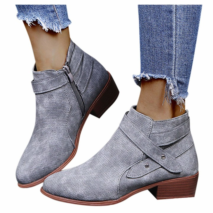 Artifical Leather Ankle Boots for Women Retro Tassel Wedges Zipper Solid Color Short Booties Round Toe Shoes