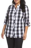 Foxcroft Plus Size Women's Fay Crinkle Plaid Stretch Cotton Blend Tunic Shirt