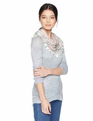 One World OneWorld Women's Petite Long Sleeve Hi Lo Hem Sweater with Attached Scarf