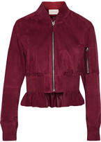 Cédric Charlier Cropped Ruffled Suede Bomber Jacket - Burgundy