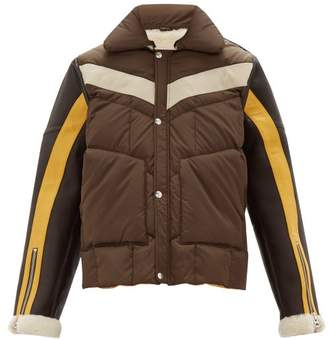 Schott Leather Sleeves Technical Quilted Shearling Jacket - Mens - Brown Multi