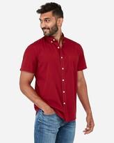 Express Classic Garment Dyed Button-Down Short Sleeve Shirt